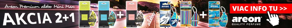 POZOR! Práve sme pre vás aktivovali AKCIU 2+1 na pôsobivé osviežovače Areon Premium a Areon Mini Max!